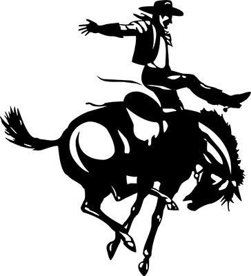 Black-ink cowboy riding a horse tattoo design
