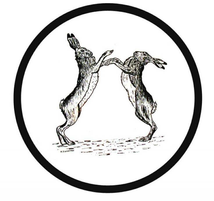 Black-ink dancing hare couple in circle frame tattoo design