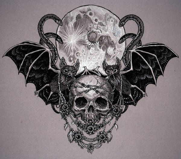 Black-ink detailed skull with bat couple on full moon background tattoo design