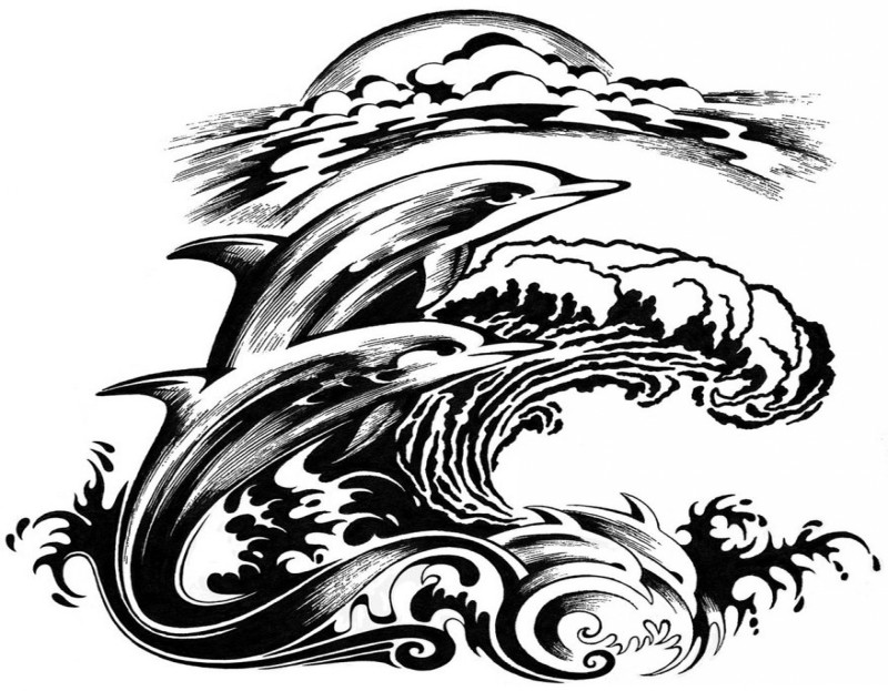 Black-ink dolphin among huge storming waves tattoo design