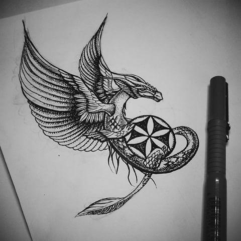 black ink dotwork dragon keeping mandala tattoo design. Black Bedroom Furniture Sets. Home Design Ideas