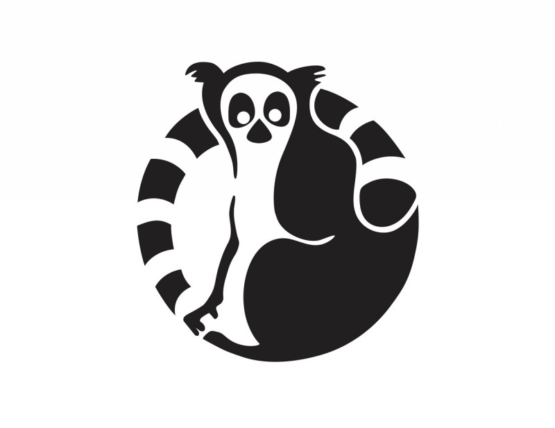 Black-ink eyeless lemur curled in circle tattoo design