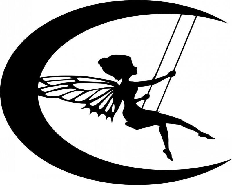 Black-ink fairy on a moon teeterboard tattoo design