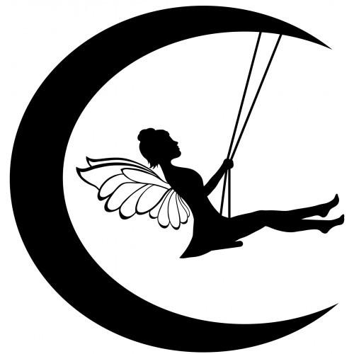 Black-ink fairy on moon teeter board tattoo design