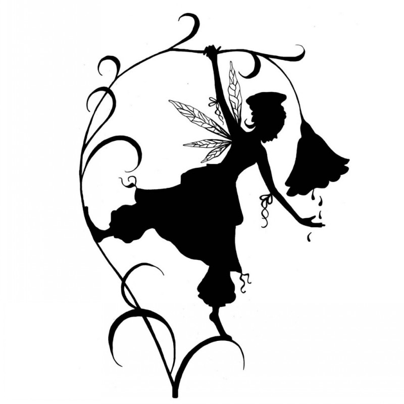 Black-ink fairy silhouette and water drops falling from flower bud tattoo design