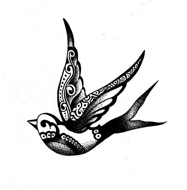 Black-ink flying sparrow with folk pattern tattoo design