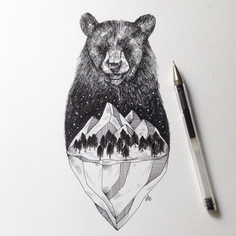 Black-ink grizzly bear turning into glacier tattoo design
