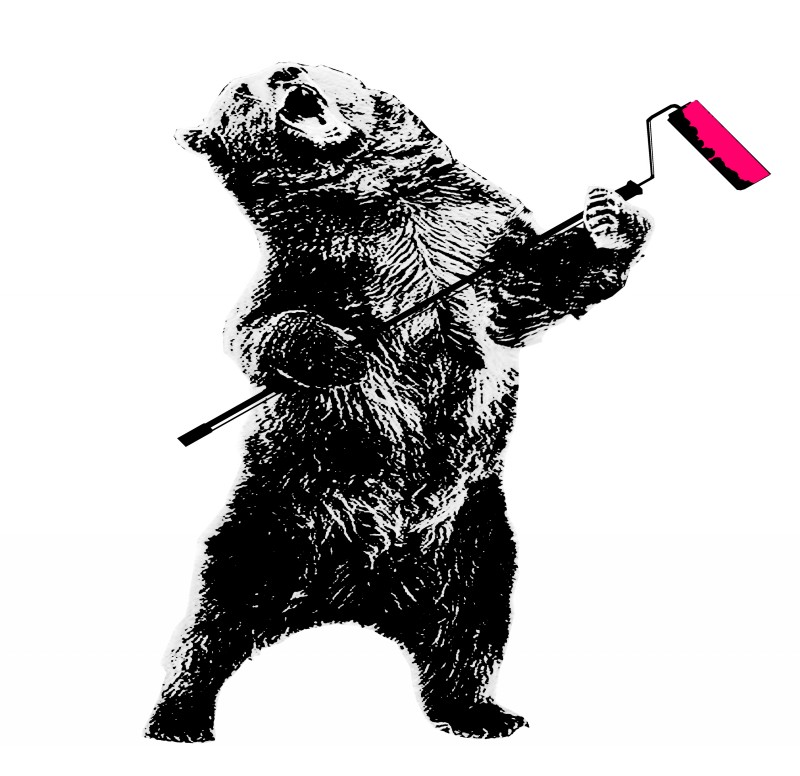 Black-ink grizzly bear with pink paint roller tattoo design