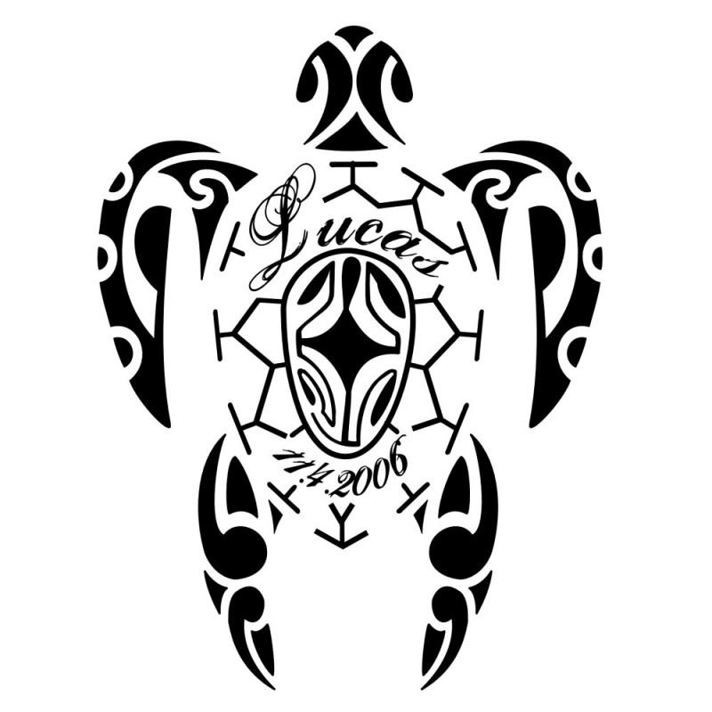 Black-ink hawaiian sea turtle with letterings tattoo design