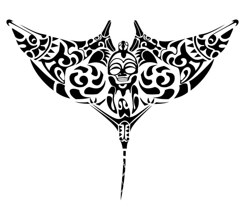 Black-ink hawaiian stingray water animal tattoo design
