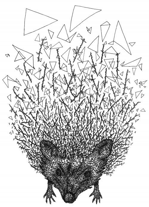 Black-ink hedgehog with geometric style tattoo design