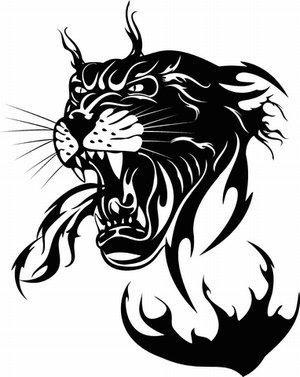 Black-ink jaguar breathing with fire tattoo design
