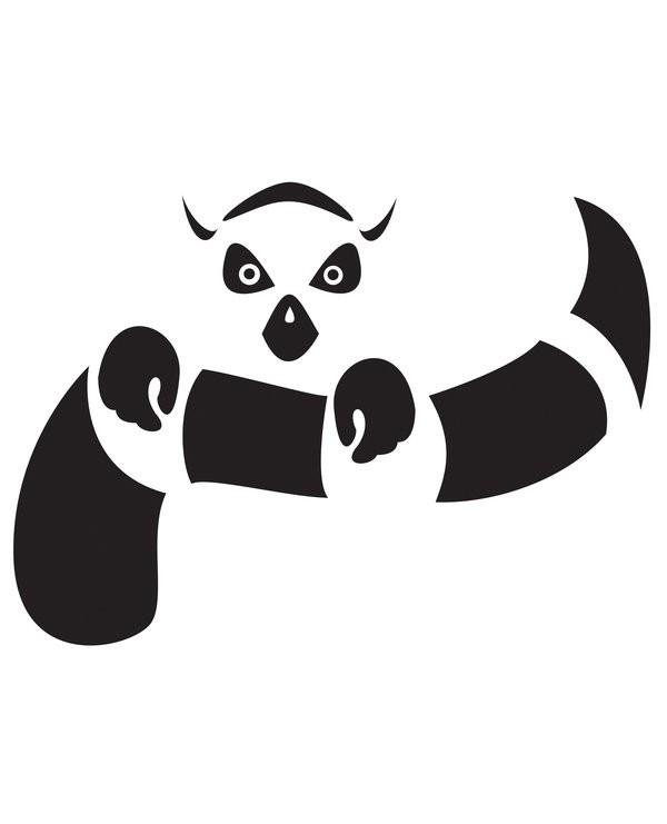 Black-ink lemur keeping its own tail tattoo design by Manda Bot