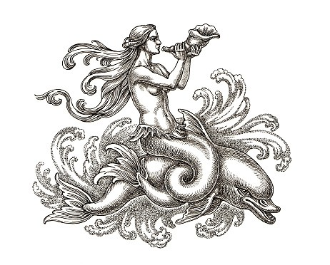 Black-ink mermaid with a pipe riding a dolphin tattoo design