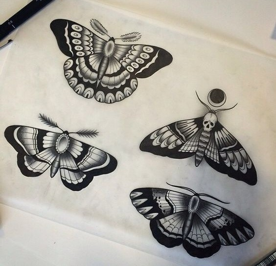 old school moth tattoo. Black Bedroom Furniture Sets. Home Design Ideas