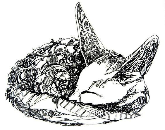blackink ornete sleeping fennec fox tattoo design