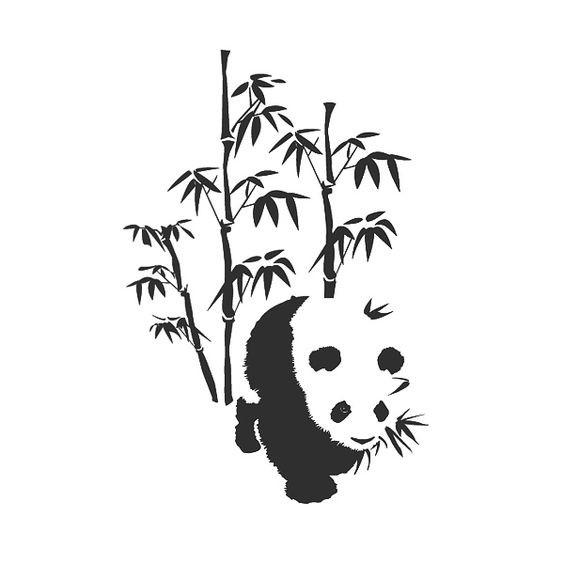 Black-ink panda and bamboo tree tattoo design