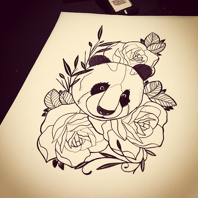 Black-ink panda head surrounded with huge rose buds tattoo design