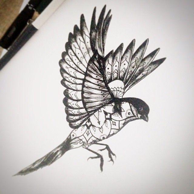 Black-ink patterned flying sparrow tattoo design