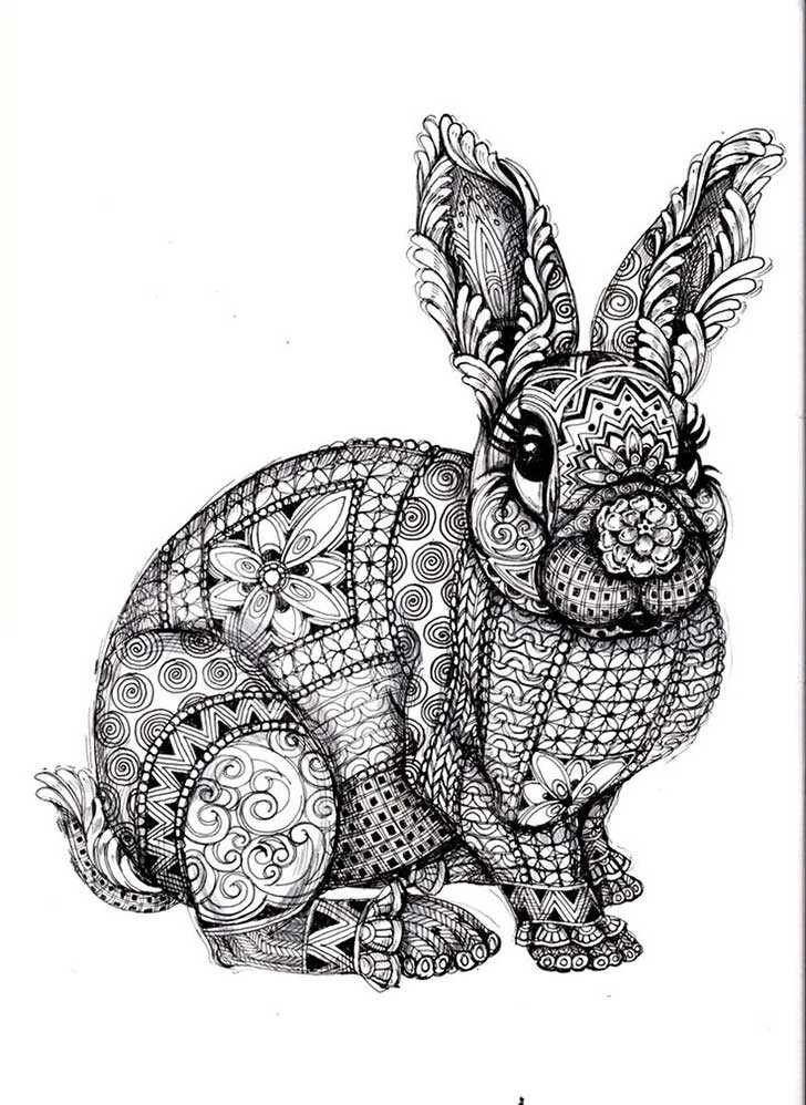 Black-ink patterned rabbit in full growth tattoo design