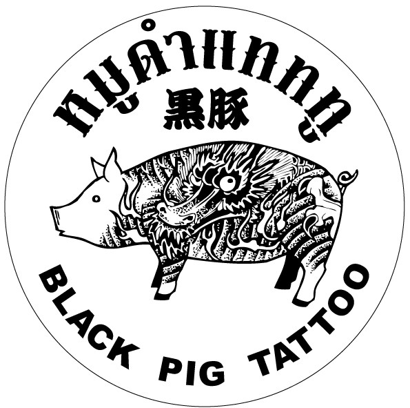 Black-ink pig with chinese pattern in lettered circle frame tattoo design