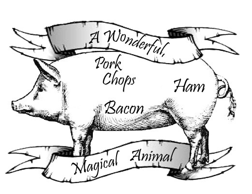 Black-ink pig with letterings and banners tattoo design