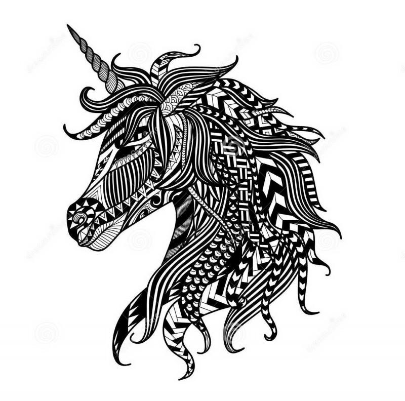 Black-ink rich-ornamented unicorn head in profile tattoo design