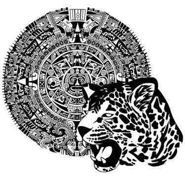 Black-ink roaring jaguar head and aztec-decorated circle tattoo design