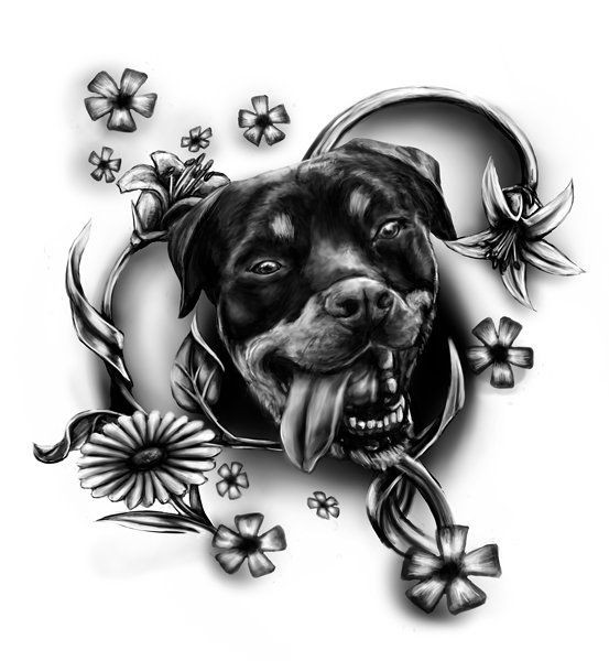 Black-ink rottweiler head surrounded with flowers tattoo design