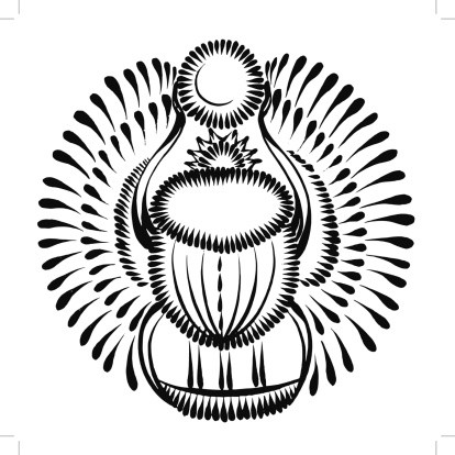 Black-ink scarab bug with shining wings keeping small sun disk tattoo design