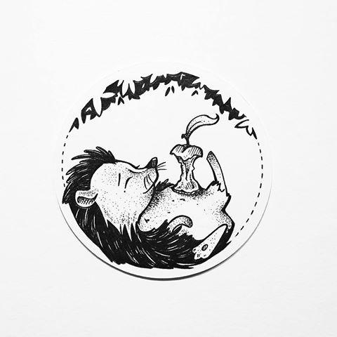 Black-ink sleeping hedgehog and apple end in circle frame tattoo design