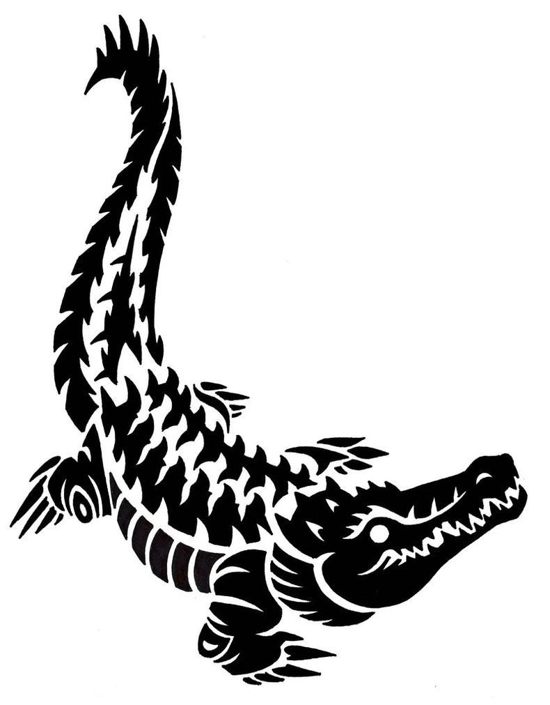 Black-ink stealing up reptile tattoo design by Dark Silvania
