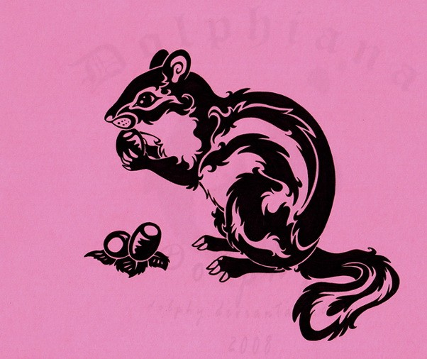 Black-ink tribal rodent with nuts tattoo design by Dolphy