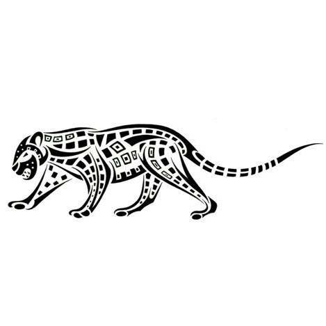 Black-ink tribal square-patterned walking jaguar tattoo design