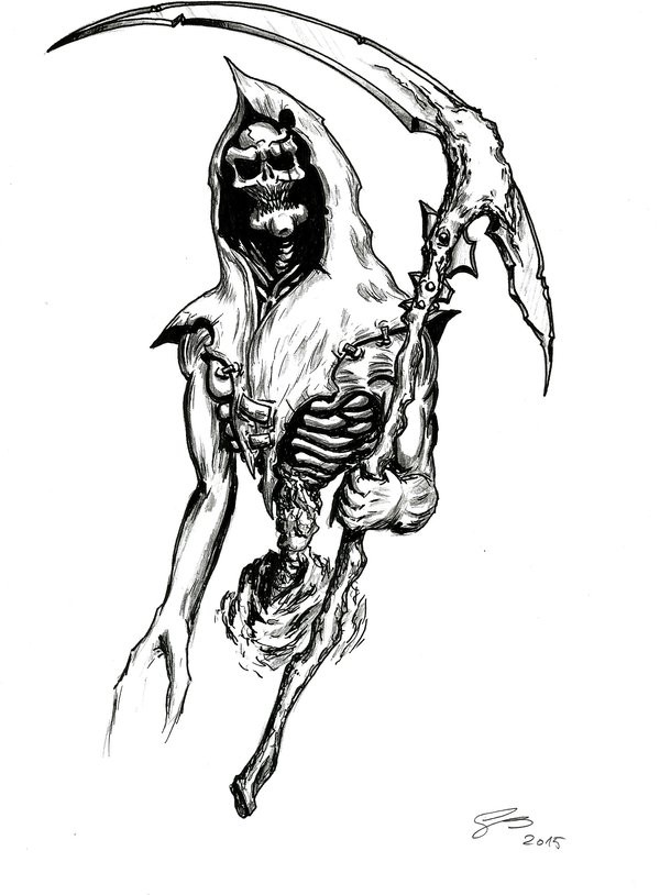 Black-ink zombie death with a scythe tattoo design by Samael Sho To 5