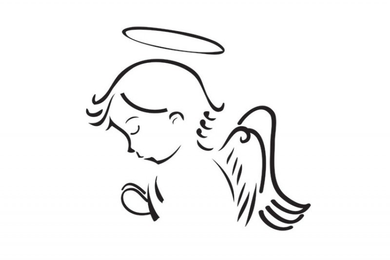 Black-line angel child silhouette with a nimbus tattoo design