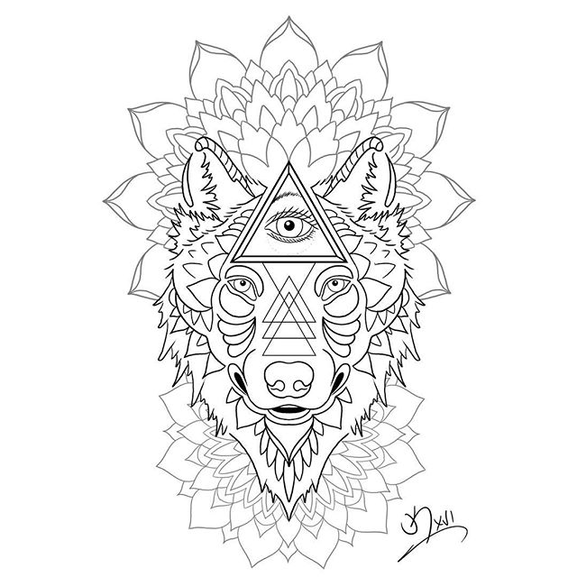 Mandala Wolf Tattoo Designs For Women I Like The: Black-line Wolf With Illuminati And Mandala Flowers Tattoo