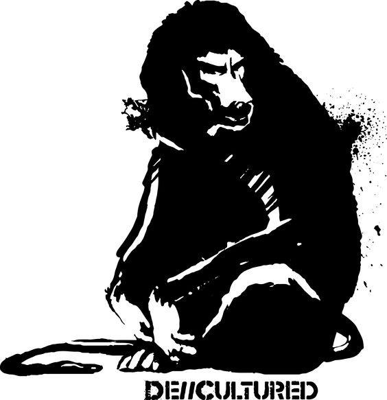 Black agressive sitting baboon tattoo design