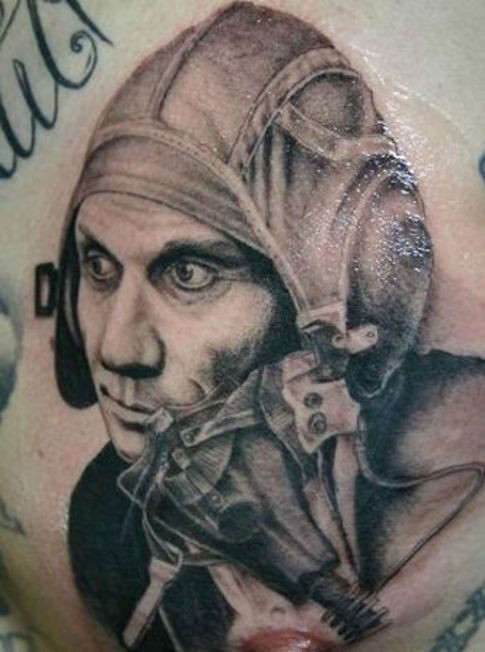 Black and gray style old pilot portrait tattoo