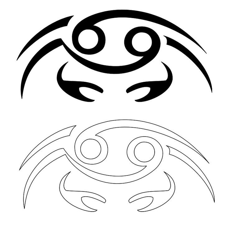 Black and outline zodiac-patterned crab tattoo designs