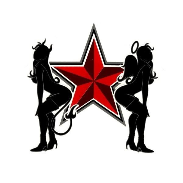 Black angel and devil gill silhouettes with a huge red star tattoo design
