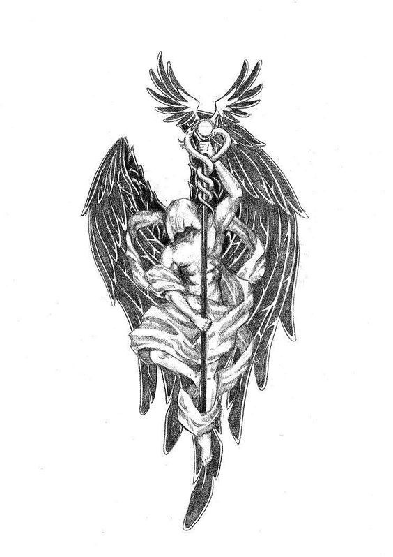 black angel with covered head keeping a long stick tattoo design. Black Bedroom Furniture Sets. Home Design Ideas