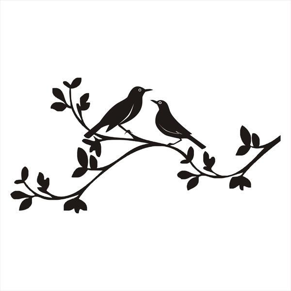 Black Bird Couple Sitting On Leaf Branch Tattoo Design