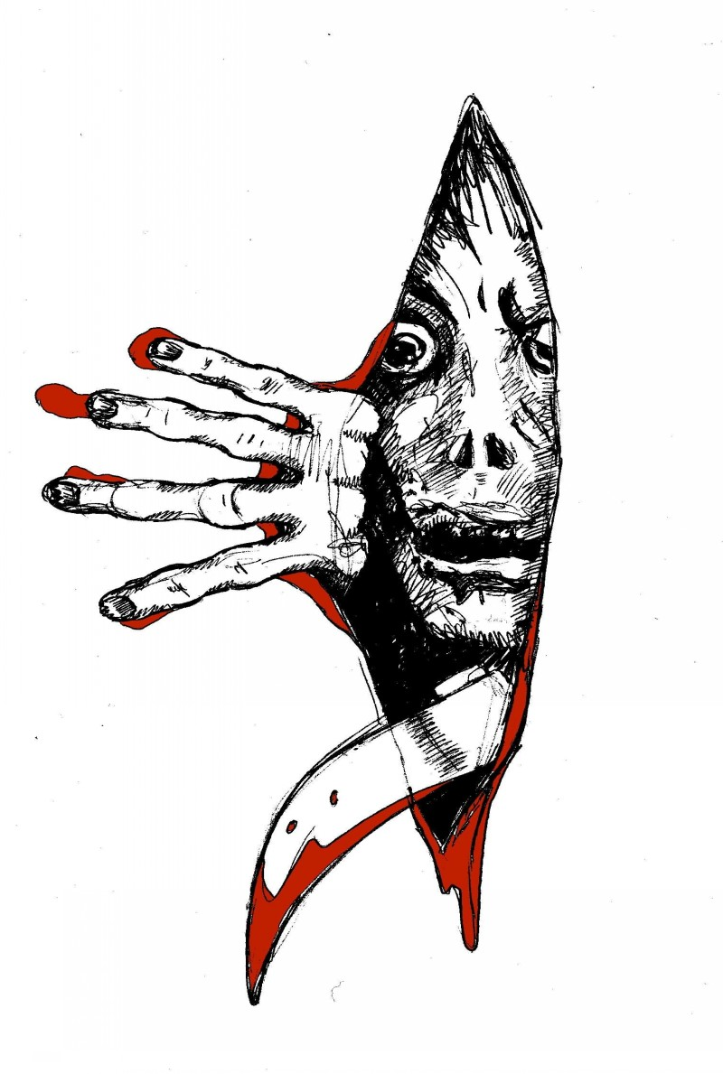 Black blooded zombie man looking through the wall hole tattoo design
