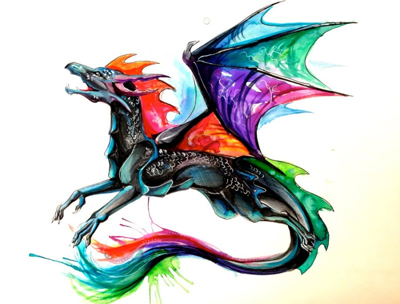 Black cartoon lying dragon with rainbow wings and tail tattoo design