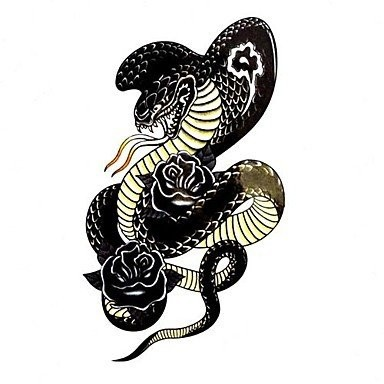 Black cobra snake with rose buds tattoo design