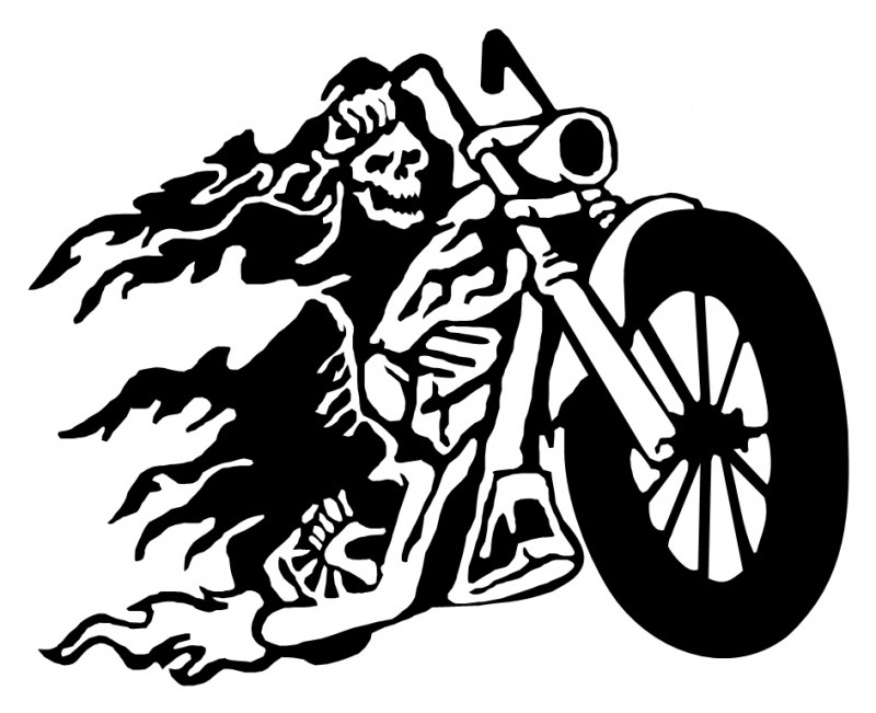 Black cocky death riding a bike tattoo design