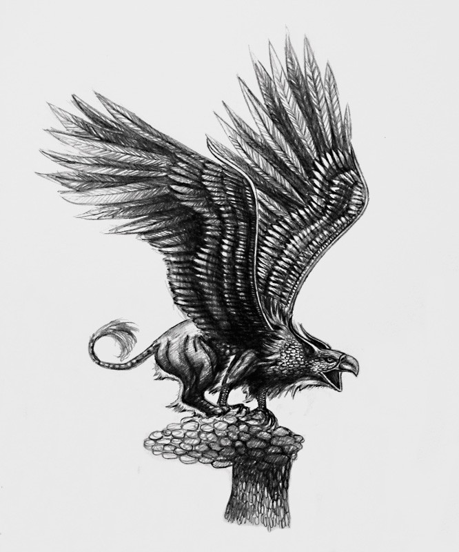 Black crying griffin touched by grief tattoo design by Apolart