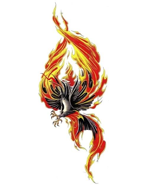 black crying phoenix on fire tattoo design