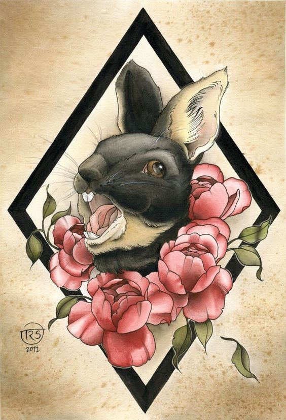 Black crying rabbit and pink roses in rhombus frame tattoo design